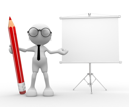 flipchart: 3d people -man,  person with a pencil and a blank board  Flipchart