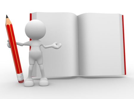 open notebook: 3d people -man,  person with a pencil and a book