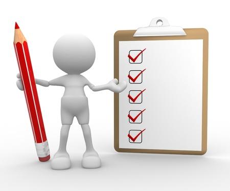 control de calidad: Personas-hombre, persona 3d con un l�piz y un checklist Foto de archivo
