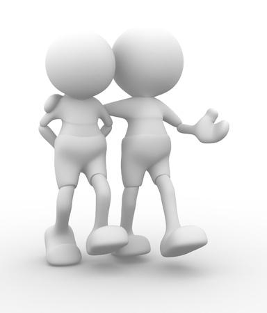 denker: 3d mensen - mannen, persoon lopen met de handen achter en een vriend Concept van de vriendschap