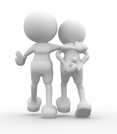 listening back: 3d people - men, person walking with to hands behind and a friend  Concept of friendship