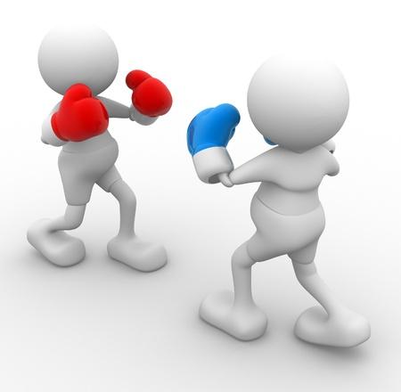 3d mensen - man, persoon met bokshandschoenen Boxer