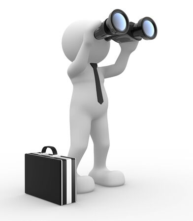 binocular: 3d people - man,  person  with a binocular  Search Concept