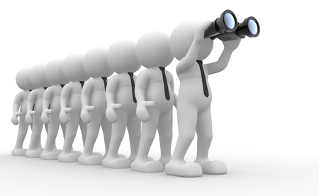 community surveillance: 3d people - men,  person  with a binocular  Search Concept