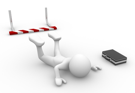 3d people - man, person failing to jump over a hurdle obstacle Businessman defeated Stock Photo