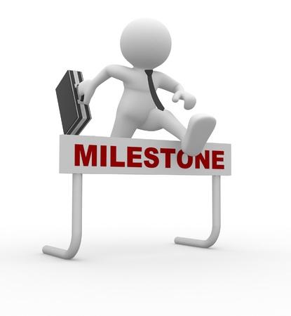 h�rde: 3d Menschen - ein Mann, Person, Springen �ber eine H�rde Hindernis Titel Milestone Gesch�ftsmann