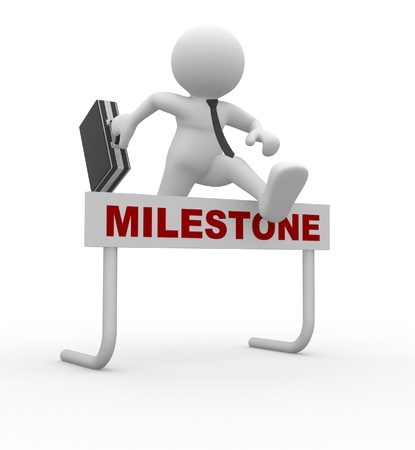 3d people - man, person jumping over a hurdle obstacle titled Milestone Businessman