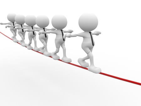 3d people - men, person walking on the wire  Aerobatics