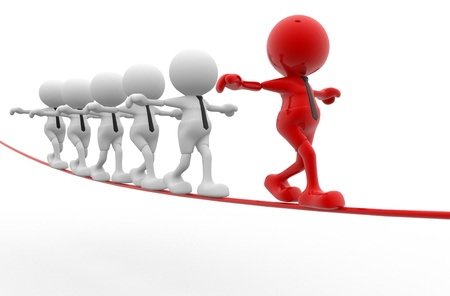 leadership: 3d people - men, person walking on the wire  Aerobatics
