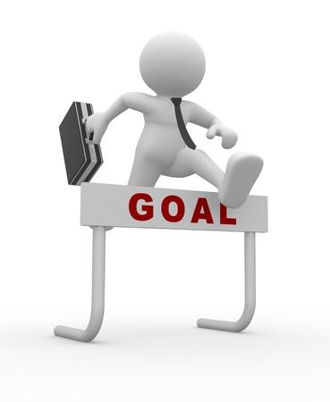 h�rde: 3d Menschen - ein Mann, Person, Springen �ber eine H�rde Hindernis Titel Goal Gesch�ftsmann