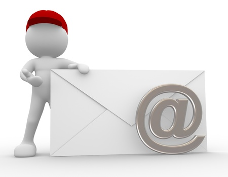 3d people - man, person with envelope  Postman send an email  Stock Photo - 14868567