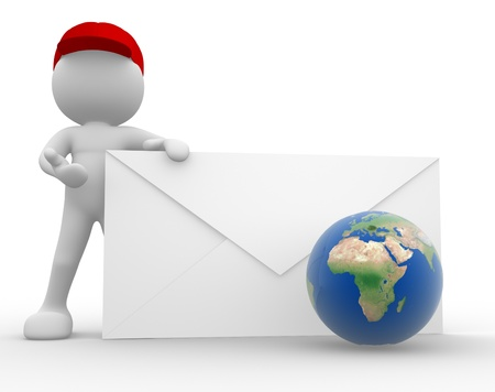 3d people - man, person with envelope and a earth globe  Postman  Concept of communication photo