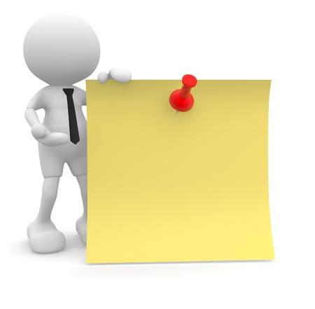 recordar: 3d gente - hombre, persona con un papel amarillo y trumbtack El concepto de mensaje Recuerda