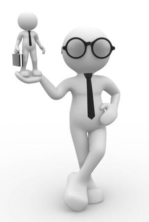 steady:  3d people - men, person presents worker model