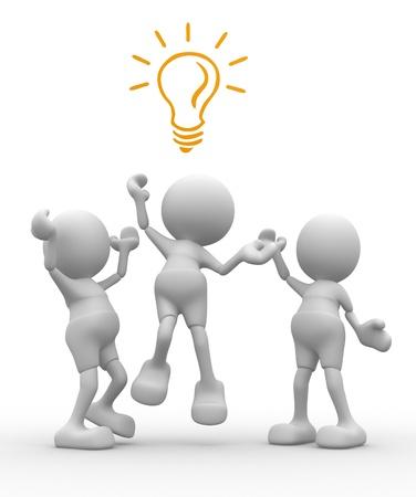 vorschlag: 3d Menschen - Männer, ist Person für eine Glühbirne kämpfen
