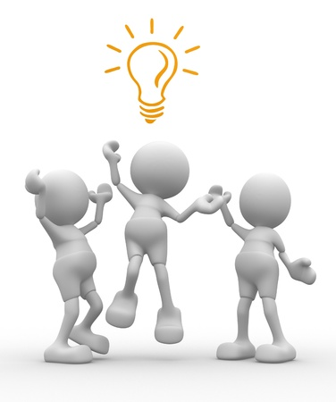proposition: 3d people - men, person is fighting for a light bulb Stock Photo