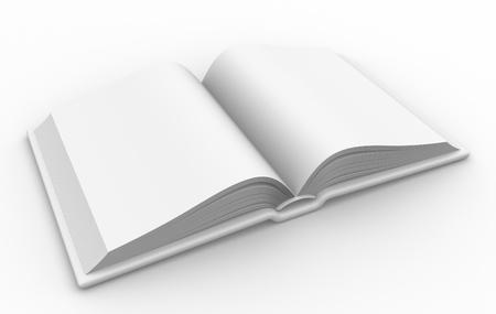 libros abiertos: 3d libro abierto en blanco.
