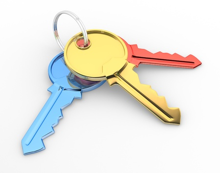 house keys: Keys. 3d render illustration Stock Photo