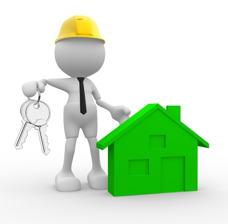 3d people - man, person with keys in hand and a icon house. Builder engineer photo