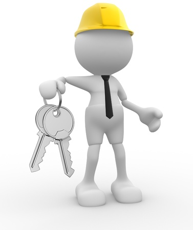 3d people - man, person with keys in hand. Builder engineer photo