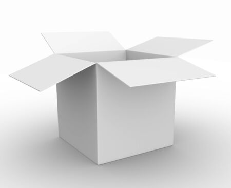 3d white box opened. Cardboard Stock Photo - 14868910