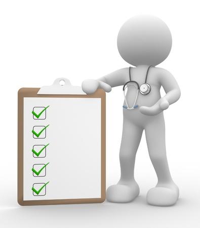 lekarz: 3d osób - mężczyzna, człowiek z schowka i stetoskop. Lekarz z listą kontrolną.