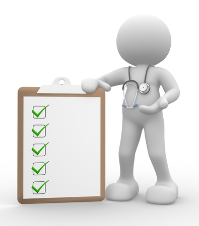 diagnosis: 3d people - man, person with clipboard and a stethoscope. Doctor with checklist. Stock Photo