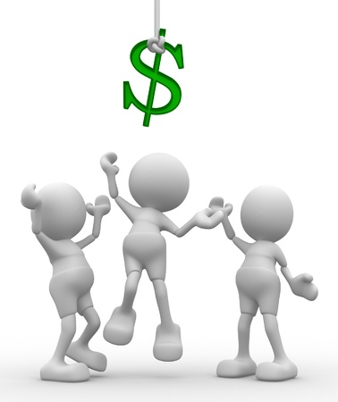 money symbol: 3d people - men, person are fighting for dollars