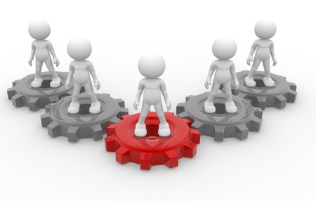 3d people - man, person and gear mechanism. Leadership and team. Stock Photo