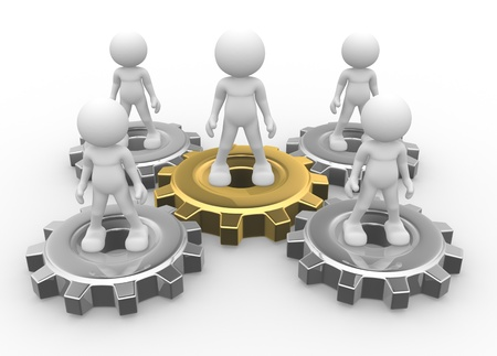 different concept: 3d people - man, person and gear mechanism. Leadership and team. Stock Photo
