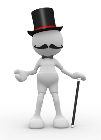 3d people - man, person  with hat and with a cane. Gentleman  Stock Photo - 14868738