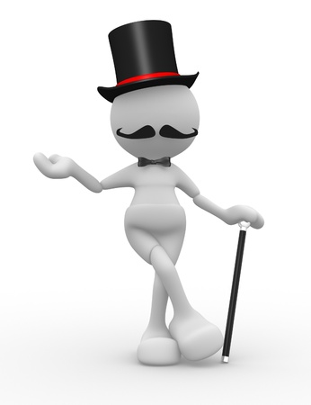 3d people - man, person with hat and with a cane. Gentleman Stock Photo - 14868753