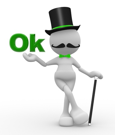 3d people - man, person with hat and with a cane. Gentleman and word  OK photo