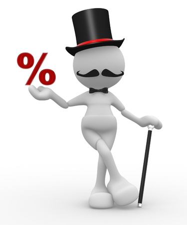 3d people - man, person with hat and with a cane. Gentleman and the percent sign photo