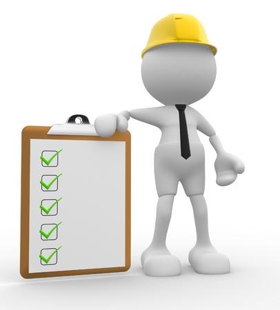 veiligheid bouw: 3d mensen - mannen, persoon met een klembord. Ingenieur Stockfoto