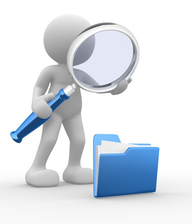 3d people - man, person with a folder and a magnifying glass. Search concept  photo