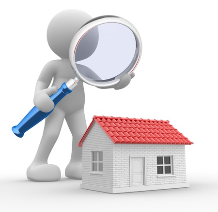3d people - man,  person with a  magnifying glass and a house. Search new house photo