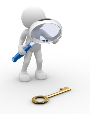 3d people - man,  person with a big magnifying glass looking at the golden key.