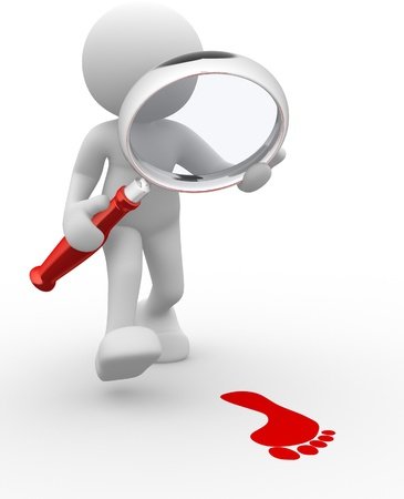 investiga��o: 3d povos - homem, pessoa com lupa e pegada.