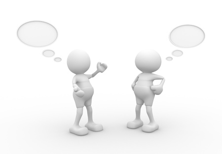 dialog: 3d people - men, person with blank bubbles. Concept of dialogue, communication Stock Photo