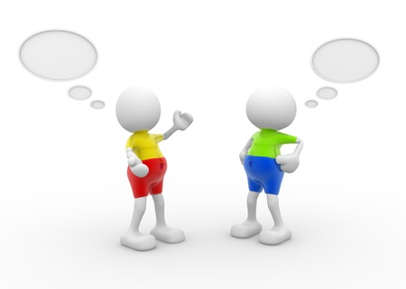 informing: 3d people - men, person with blank bubbles. Concept of dialogue, communication Stock Photo