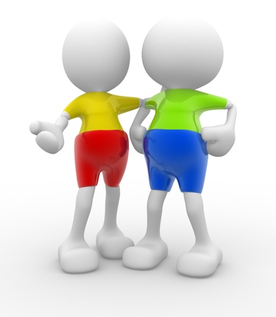 3d people - men, persons talking. Concept of dialogue and congratulation photo