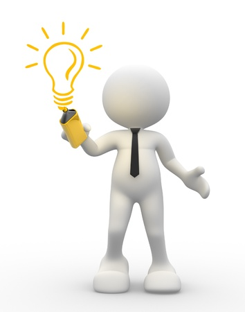 3d people - men, person with light-bulb Stock Photo - 14868751