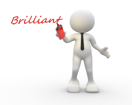 congratulating: 3d people - man, person and a word   Brilliant   Stock Photo