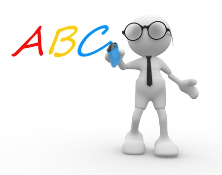 3d people - man, person with marker and ABC photo