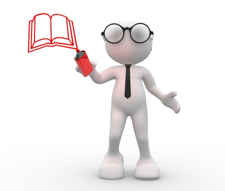 3d people - man, person and a book. Stock Photo - 14868889