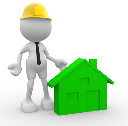 3d people - man, person with a house. Builder with helmet.  photo