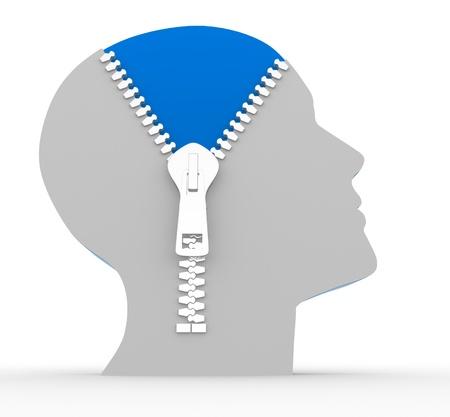 knowledge: 3d menschlichen Kopf und o offenen Rei�verschluss. Konzept der Intelligenz