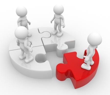 discriminacion: 3d personas - hombres, personas en grupo y rompecabezas. Discriminación