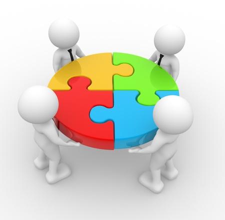 3d personnes - hommes, personne et des pièces d'un puzzle.
